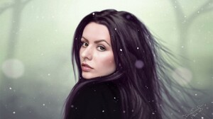 Artistic Black Hair Brown Eyes Girl Painting Portrait Winter Woman 1920x1229 wallpaper