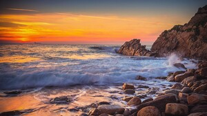 Earth Horizon Ocean Rock Sea Sunset 6016x4016 wallpaper