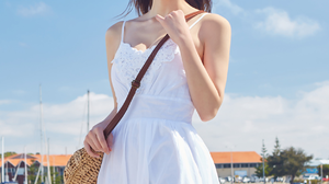Lee Chae Eun Women Model Asian Brunette Long Hair White Dress Fair Skin Hairband Women Outdoors Port 1252x1876 Wallpaper