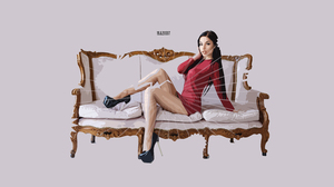Artistic Digital Art Fashion Girl Model Red Dress Sofa Vector 3000x1688 Wallpaper