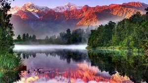 Sunlight Reflection New Zealand South Island New Zealand Mount Cook Aoraki Mount Cook Southern Alps  2048x1341 Wallpaper