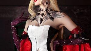 Women Model Cosplay Long Hair Blonde Tattoo La Signora Genshin Impact Parted Lips Video Games Video  1399x2000 Wallpaper
