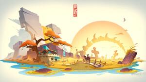 Jun Zhang Asian Architecture White Background Digital Art Sunset Sunrise Camel Ride River Waterfall 1920x1008 Wallpaper