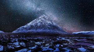 Night Starry Sky Snow Mountain Stars 2560x1420 Wallpaper