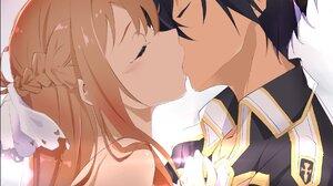 Anime Girls Anime Boys Sword Art Online Yuuki Asuna Kirigaya Kazuto Kissing 1806x1823 Wallpaper