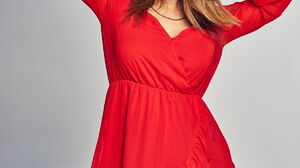 Women Actress Brunette Long Hair Dominika Kavaschova Portrait Display Red Dress Hands On Head Studio 1200x1726 Wallpaper
