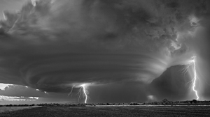 Photography Monochrome Storm Tornado Field Lightning Long Exposure Mitch Dobrowner Nature Supercell  2500x1666 Wallpaper