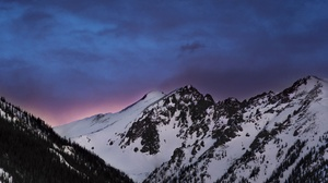Evening Mountain Sky Snow Twilight Winter 6016x4016 Wallpaper