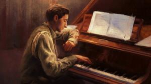 Mandy Jurgens The Pianist Adrien Brody Piano Grand Piano Digital Art Artwork Drawing Sheet Music Mov 2400x1546 wallpaper