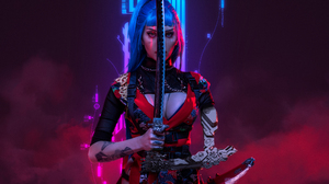 Alin Ma Women Model Cosplay Cyberpunk Katana Weapon Ninja Cyborg Kimono Indoors Women Indoors Studio 2400x1600 Wallpaper