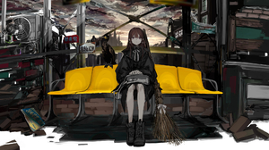 Gothic Witch Broom Brunette Hair Bangs Hand Bags Sitting Down Raven Leather Boots Jacket Brown Eyes  1974x1111 Wallpaper