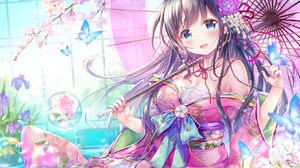 Anime Anime Girls Umbrella Japanese Clothes Butterfly Cherry Blossom Flowers Black Hair Blue Eyes Bl 1664x1137 wallpaper