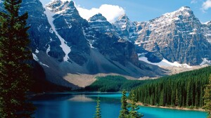 Alberta Canada Earth Forest Lake Moraine Lake Mountain Nature Snow Water 1600x1200 Wallpaper