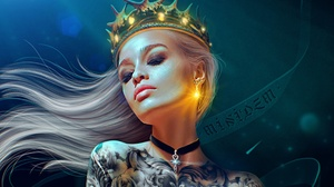 MiniDem Women Fantasy Girl White Hair Closed Eyes Crown Choker Bare Shoulders Tattoo Fantasy Art Dig 1920x1257 Wallpaper