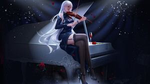 Alejandro Lara Drawing Women Silver Hair Violin Rose Flowers Piano Dress 2669x1618 Wallpaper