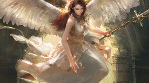 Mazert Young Women Artwork Wings Angel Fantasy Art Fantasy Girl ArtStation Sword Redhead Long Hair S 1772x1980 Wallpaper