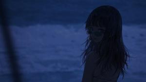 Anime Anime Girls Wang Xi Smoking Dark Hair Sunglasses 2200x943 Wallpaper