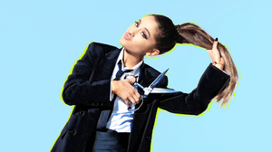 American Ariana Grande Brown Eyes Brunette Ponytail Singer Suit 1920x1080 Wallpaper