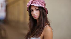 Maxim Maximov Women Hat Mariya Volokh Brunette Long Hair Straight Hair Freckles Brown Eyes Looking A 2048x1413 Wallpaper