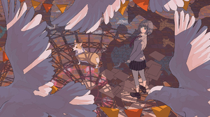 Anime Anime Girls Birds Pigeons School Uniform Blue Eyes Grey Hair Short Hair Tie Dog 2000x1052 wallpaper