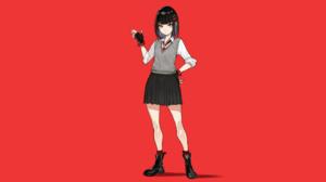 Anime Girls Anime Original Characters Red Background Schoolgirl School Uniform Brunette Hair Pins Lo 2133x1200 Wallpaper