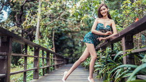 Asian Model Women Long Hair Dark Hair Trees Bushes Leaning Railings White Heels Earrings Depth Of Fi 3840x2559 Wallpaper