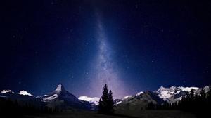 Mountain Night Sky Stars Manipulation 2560x1600 Wallpaper