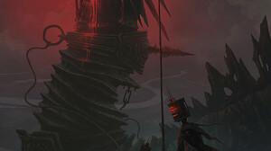 Alexey Egorov Digital Art Fantasy Art Dragon Robot Red Spear 900x1350 Wallpaper
