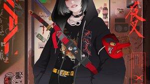 Gharliera Cyberpunk Cybernetics Anime Girls School Uniform 1300x1625 wallpaper