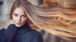 Chaim Naimark Women Brunette Long Hair Wind Brown Eyes Turtlenecks Black Clothing Looking At Viewer  2048x1024 Wallpaper