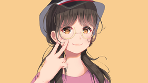 Girl Glasses Hat Long Hair 1920x1280 wallpaper