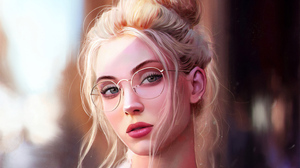 Blonde Face Girl Glasses Lipstick Woman 3840x2160 Wallpaper