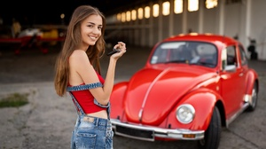 Women Model Women With Cars Car Vehicle Volkswagen Red Cars Smiling Brunette Long Hair Looking At Vi 2560x1440 Wallpaper