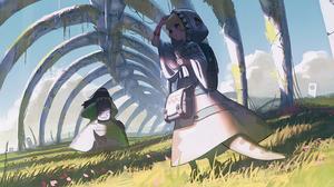 Anime Anime Girls Reoen Skeleton Fantasy Art Monster Girl Blushing Backpacks 2D Women Outdoors Looki 1536x960 Wallpaper