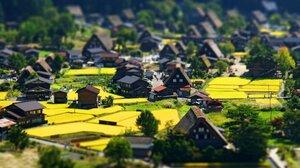 Village Town Landscape Nature Bright Spring Tilt Shift Japan Shirakawago 2560x1440 Wallpaper