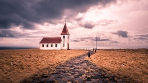 Building Church Cloud Horizon Path Sky 2000x1125 Wallpaper