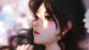Women Brunette Original Characters Closeup Brown Eyes Bokeh Face Artwork Drawing Illustration Digita 3152x2102 Wallpaper