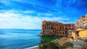 Architecture Building Horizon Italy Naples Ocean Sea Town 4200x2650 Wallpaper