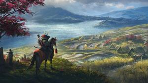 Artwork Fantasy Art Samurai Nature Landscape Rice Fields Village 3840x2048 wallpaper