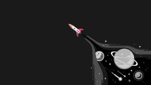 Artwork Simple Black Space Shuttle Stars Planet 3840x2160 Wallpaper