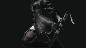 Dylan Kowalski CGi Nier Automata 2B Androids Black Clothing Thigh Highs Weapon Katana Dress Simple B 2480x3508 Wallpaper