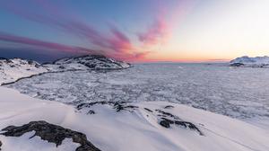 Landscape Shore Sky Sunrise Snow Clouds Horizon Nature Long Exposure 2560x1440 Wallpaper