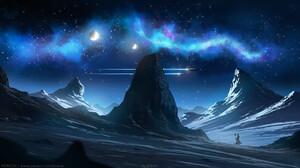 Digital Bright Sky Moon Kvacm Stars ArtStation Artwork Night 1440x810 wallpaper