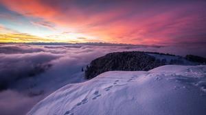 Fog Mountain Nature Snow Sunset Winter 2048x1300 wallpaper