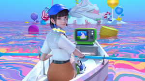 JYANME Anime Girls Vaporwave Television Sets Boat 1920x1080 wallpaper