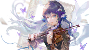 Anime Anime Girls Blue Eyes Butterflies Ribbons Long Hair Blue Hair Flower In Hair Looking At Viewer 2856x1758 wallpaper