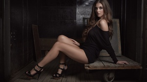 Women Model Brunette Long Hair High Heels Black Dress Bare Shoulders Sitting Wooden Surface Legs Loo 2048x1365 Wallpaper