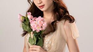 Asian Model Women Long Hair Dark Hair Flowers Bouquets Earrings Dress 1536x1920 Wallpaper