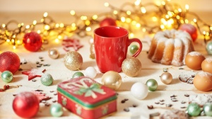 Bauble Christmas Christmas Lights Christmas Ornaments Cup 7271x4847 Wallpaper