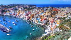 Procida Italy Campania House Church Bay Sea Boat Harbor City Cityscape Landscape 4000x3000 Wallpaper
